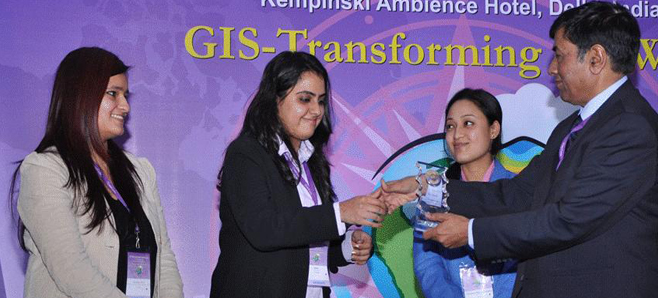 M.Sc. (Geoinformatics) students stood second in the GIS Quiz organized at the 14th ESRI India User Conference